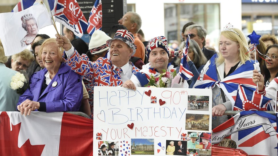 Crowds outside St Paul's Cathedral for Queen's birthday