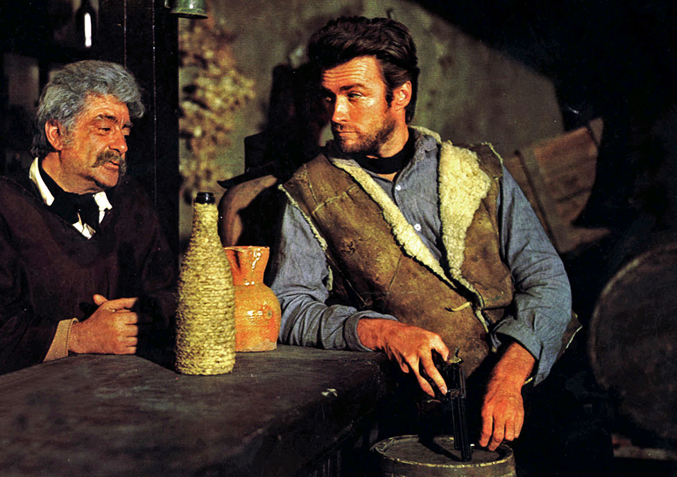 Jose Calvo and Clint Eastwood in A Fistful of Dollars (1964)