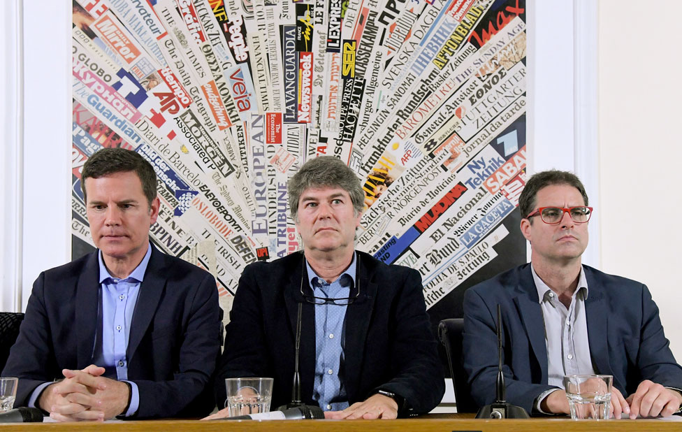 Chilean sexual abuse victims Jose Andres Murillo (R), James Hamilton (C) and Juan Carlos Cruz (L), hold a news conference at the Foreign Press Association in Rome on May 2, 2018
