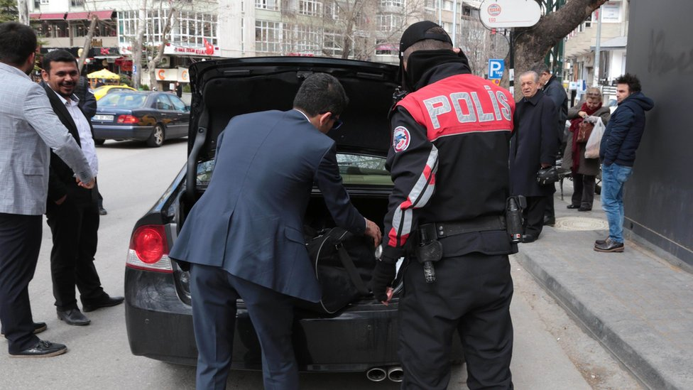 Police search a car in Ankara. 17 March 2016
