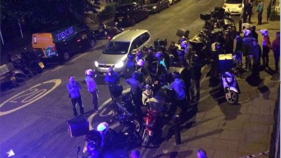 Emergency services and dozens of Uber eats and Deliveroo drivers come to the aid of an acid attack victim on Queensbridge Road in Hackney.