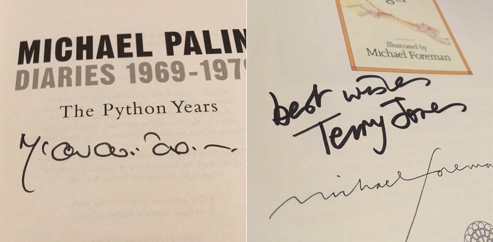 Michael Palin and Terry Jones signatures in books