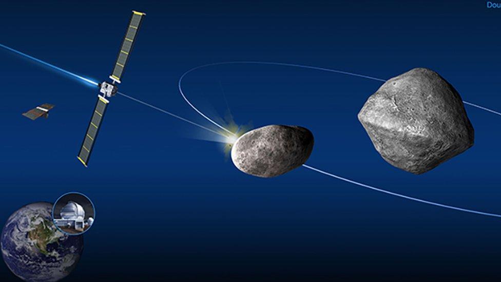 Ilustración la sonda DART a punto de impactar en el asteroide Didymos B
