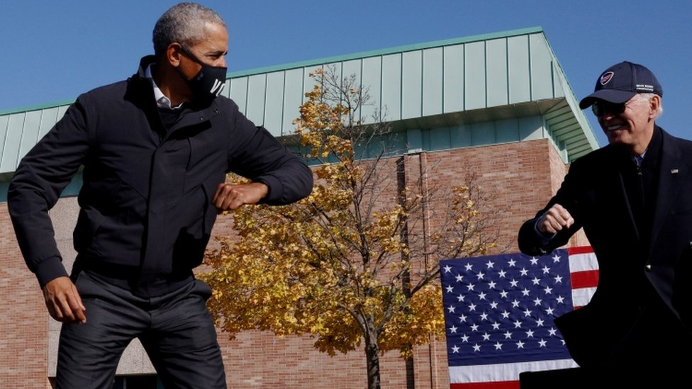 Former President Barack Obama and candidate Joe Biden in Flint, Michigan