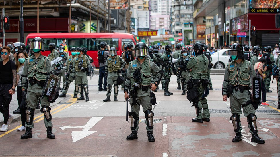 Hong Kong police control access to a street in the central Mongkok neighbourhood during the demonstrations. A new wave of protests rise in Hong Kong at the news that the Chinese government will unilaterally pass the National Security Law 23.