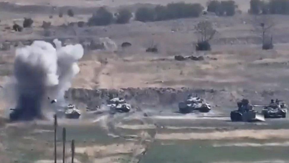 Imagen de un video difundido por el Ministerio de Defensa de Armenia