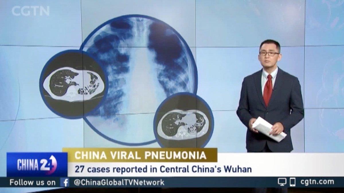 """Imagen tomada de la TV sobre un reportaje de una """"neumonía viral"""" en el canal CGTN"""