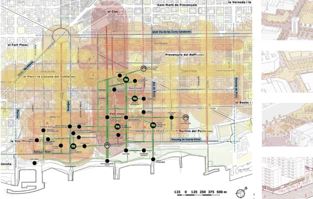 Ilustración de franjas urbanas del estudio de proximidad de barrio y centralidades escolares. Poblenou- 22@