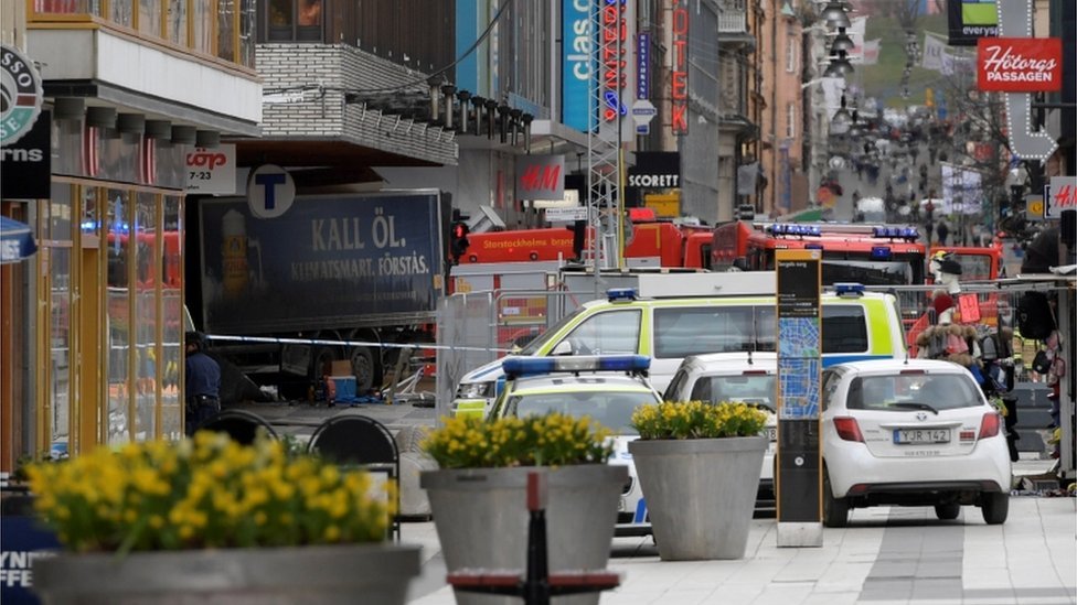 People were killed when a truck crashed into department store Ahlens on Drottninggatan, in central Stockholm, Sweden April