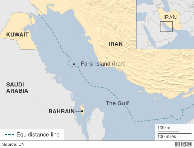 Map of the Gulf showing location of Farsi Island