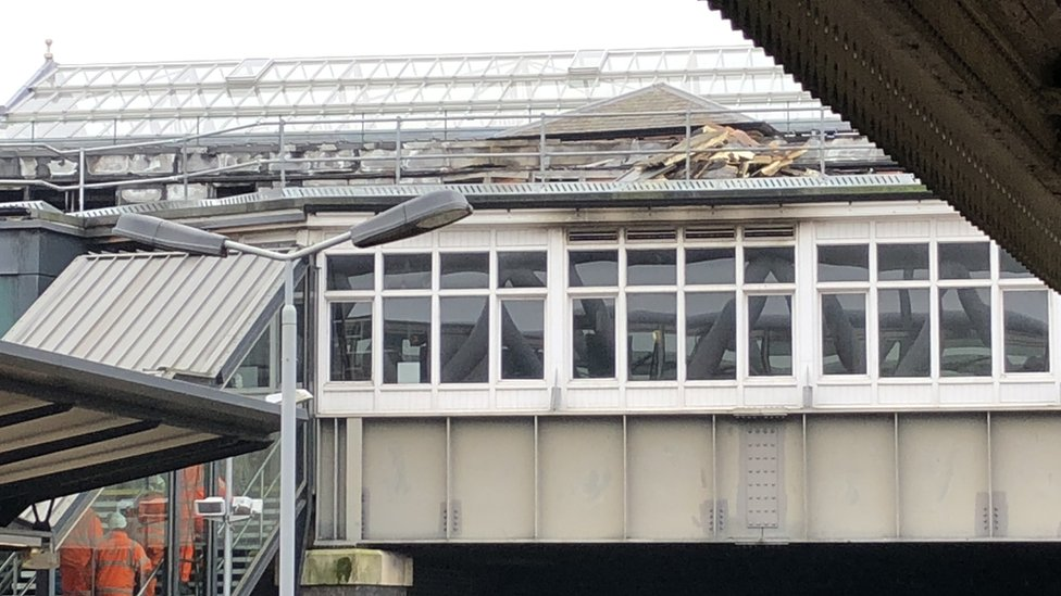 Bridge at Nottingham railway station the day after the fire