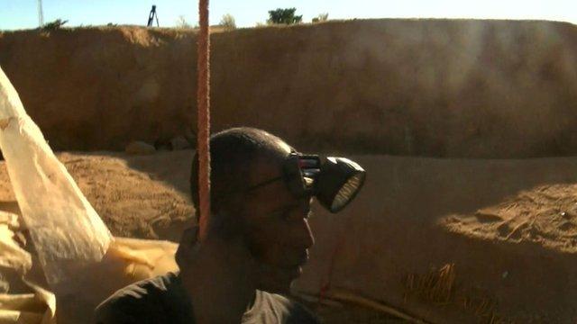 Sapphire miner in Madagascar