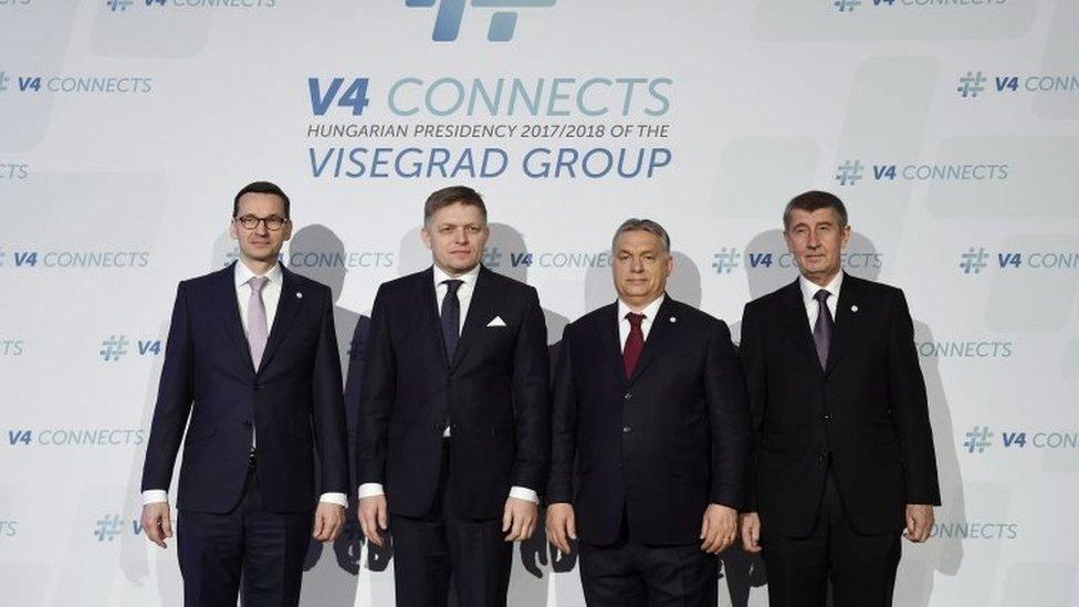 Visegrad leaders (L-R): Polish PM Mateusz Morawiecki, Slovak PM Robert Fico, Hungarian PM Viktor Orban and interim Czech PM Andrej Babis in Budapest, 26 Jan 18