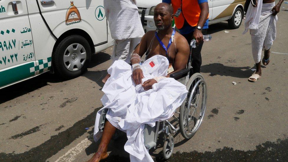 An injured pilgrim in Mina on 24 September 201