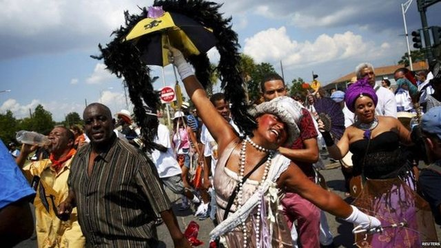 Traditional New Orleans parades are part of the anniversary
