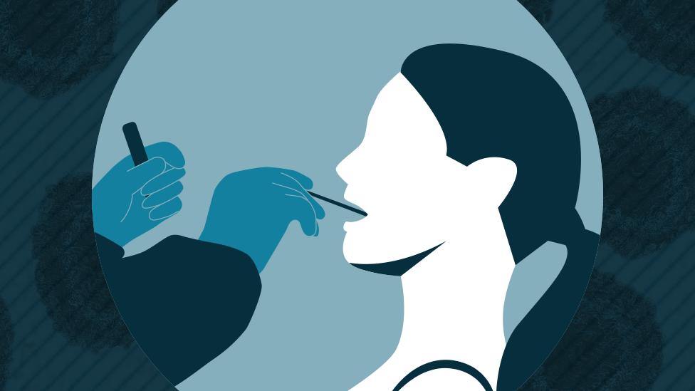 Ilustracija testiranja žene na Kovid-19