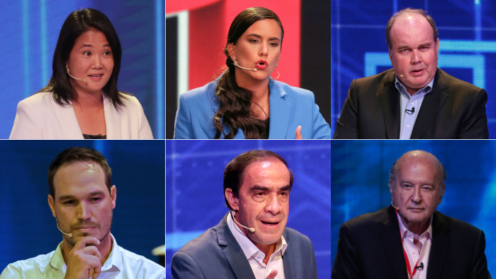 Los seis candidatos con más opciones de pasar a la segunda vuelta según el último sondeo público.