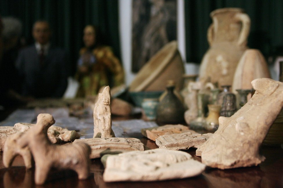 Some of the artefacts recovered after the looting