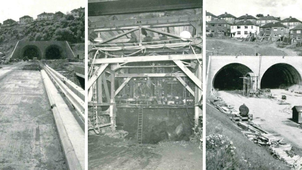 The Brynglas tunnels during construction