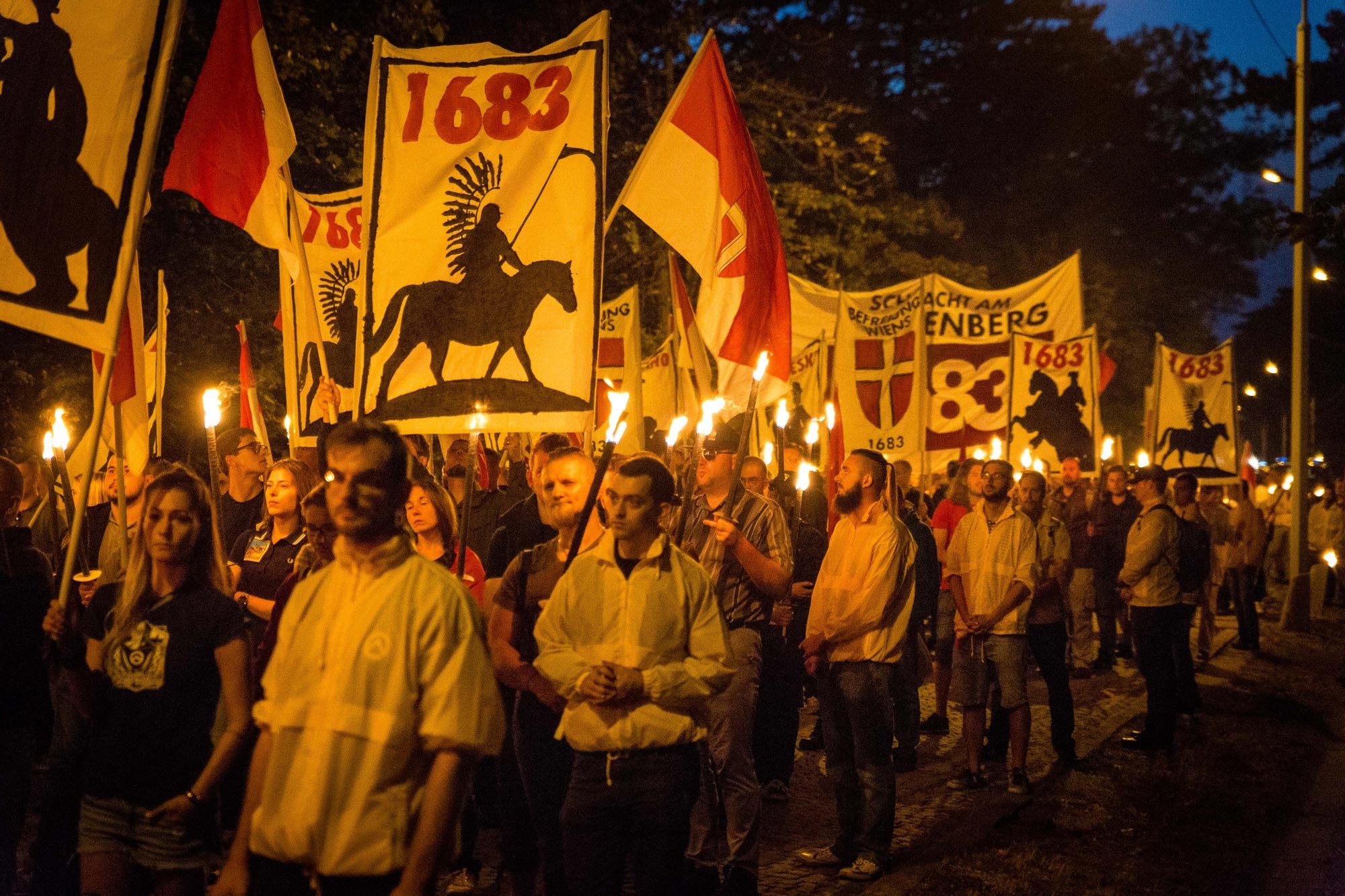 Identitarian movement demonstrates at the site of the 1683 Battle of Vienna - Kahlenberg, 2017