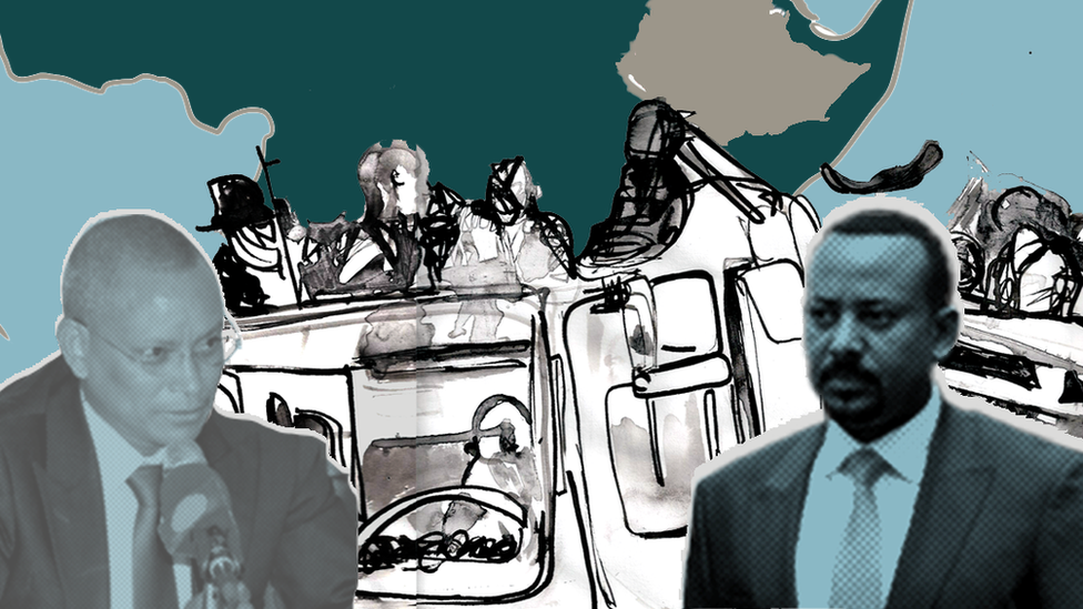 Illustration showing Debretsion Gebremichael and Abiy Ahmed over an illustration of armed fighters in a truck