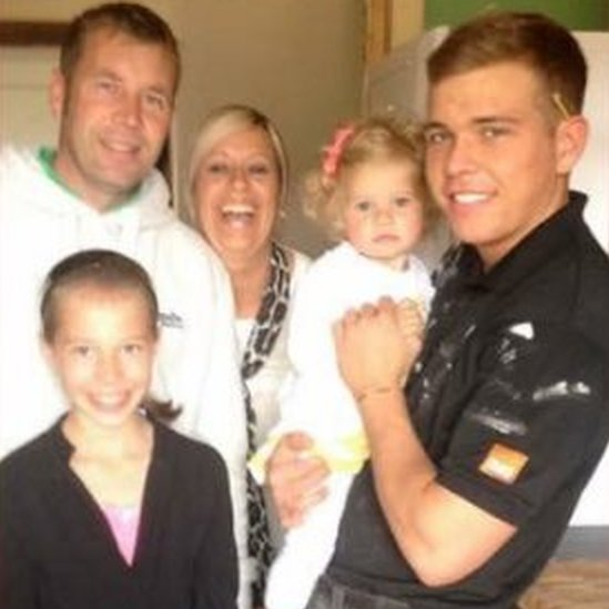 Jordan pictured with the family before he died in 2014