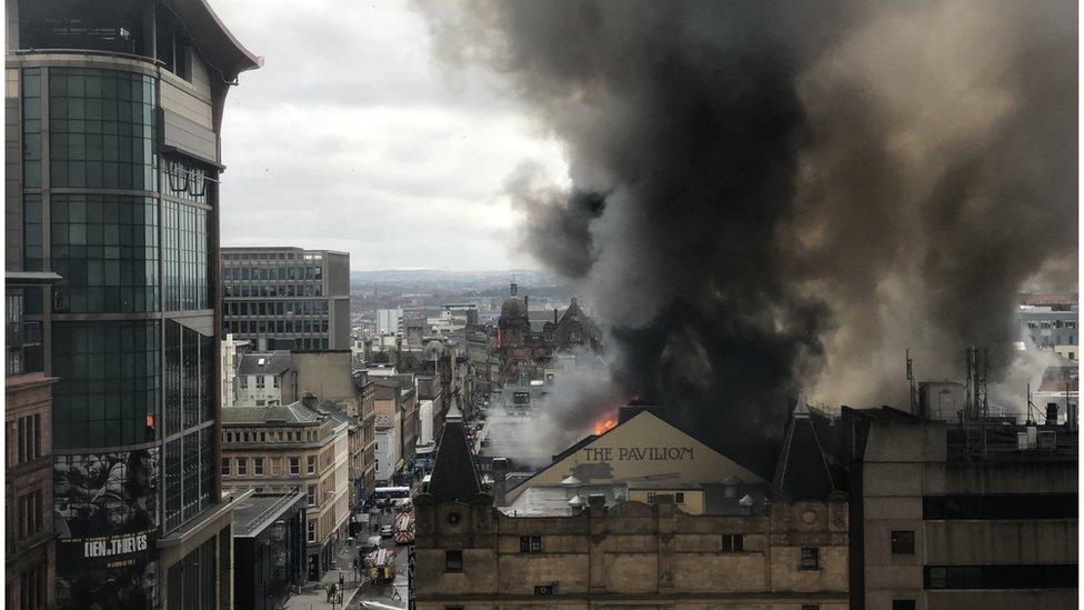 Flames behind the Pavilion Theatre