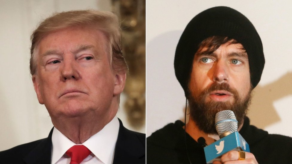 US President Donald Trump and Jack Dorsey
