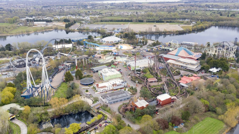 An aerial view of an empty Thorpe Park