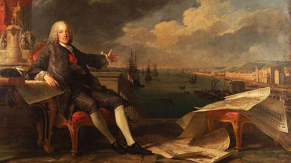 El marqués de Pombal, de Louis-Michel van Loo y Claude Joseph Vernet, 1766; al fondo, los jesuitas son expulsados de Portugal.