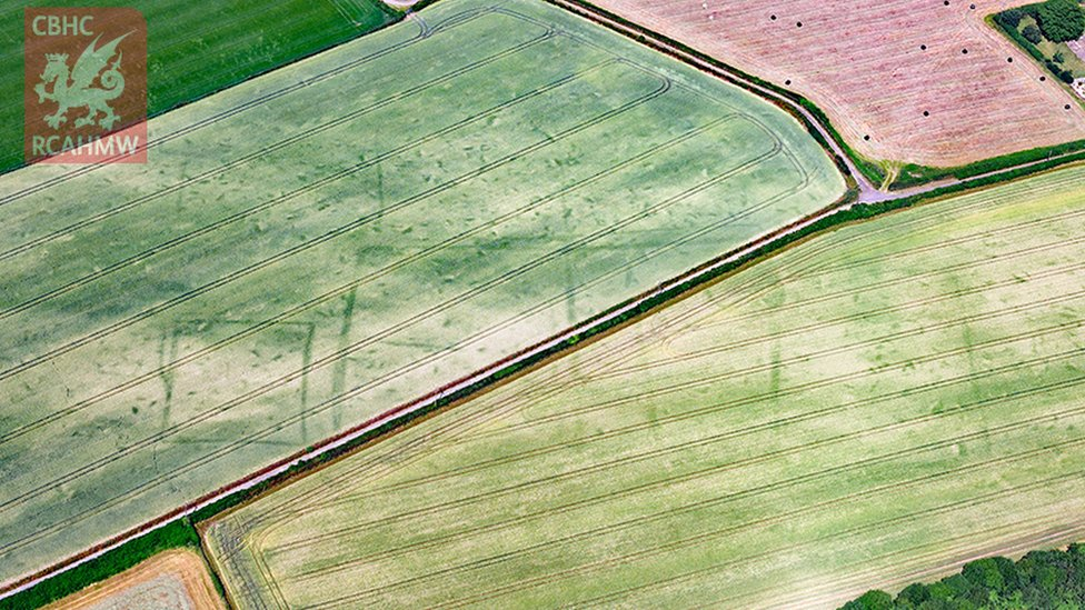 Extensive crop marks of Trewen Roman farmstead or villa, Caerwent, Monmouthshire
