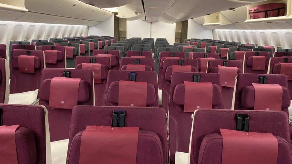 乘客報告稱,前往澳大利亞的商業航班常常空無一人。