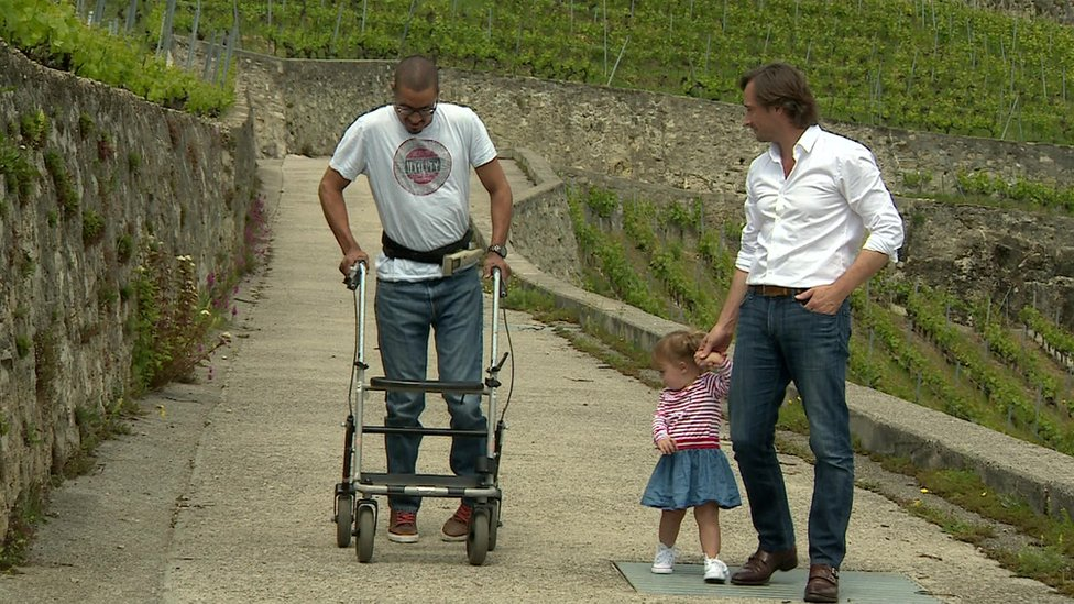 David walking with Gregoire and Charlotte
