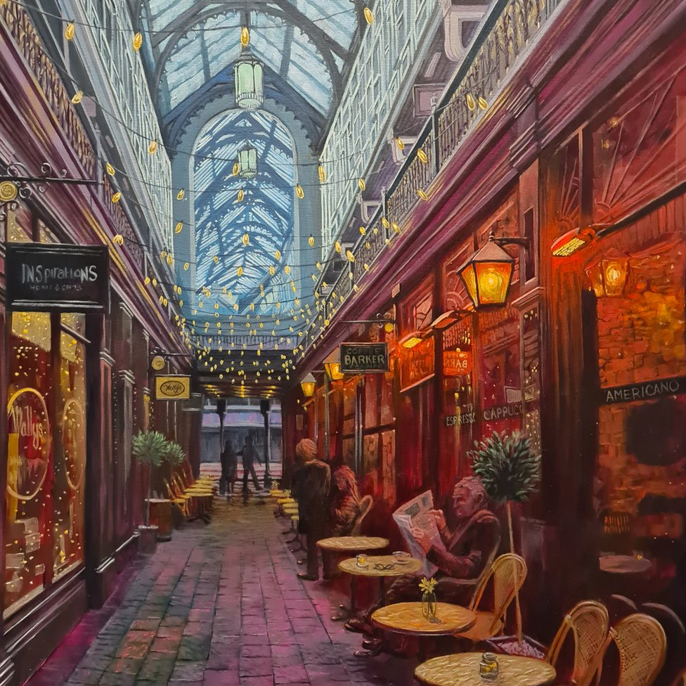 Carl's painting of the Castle Arcade
