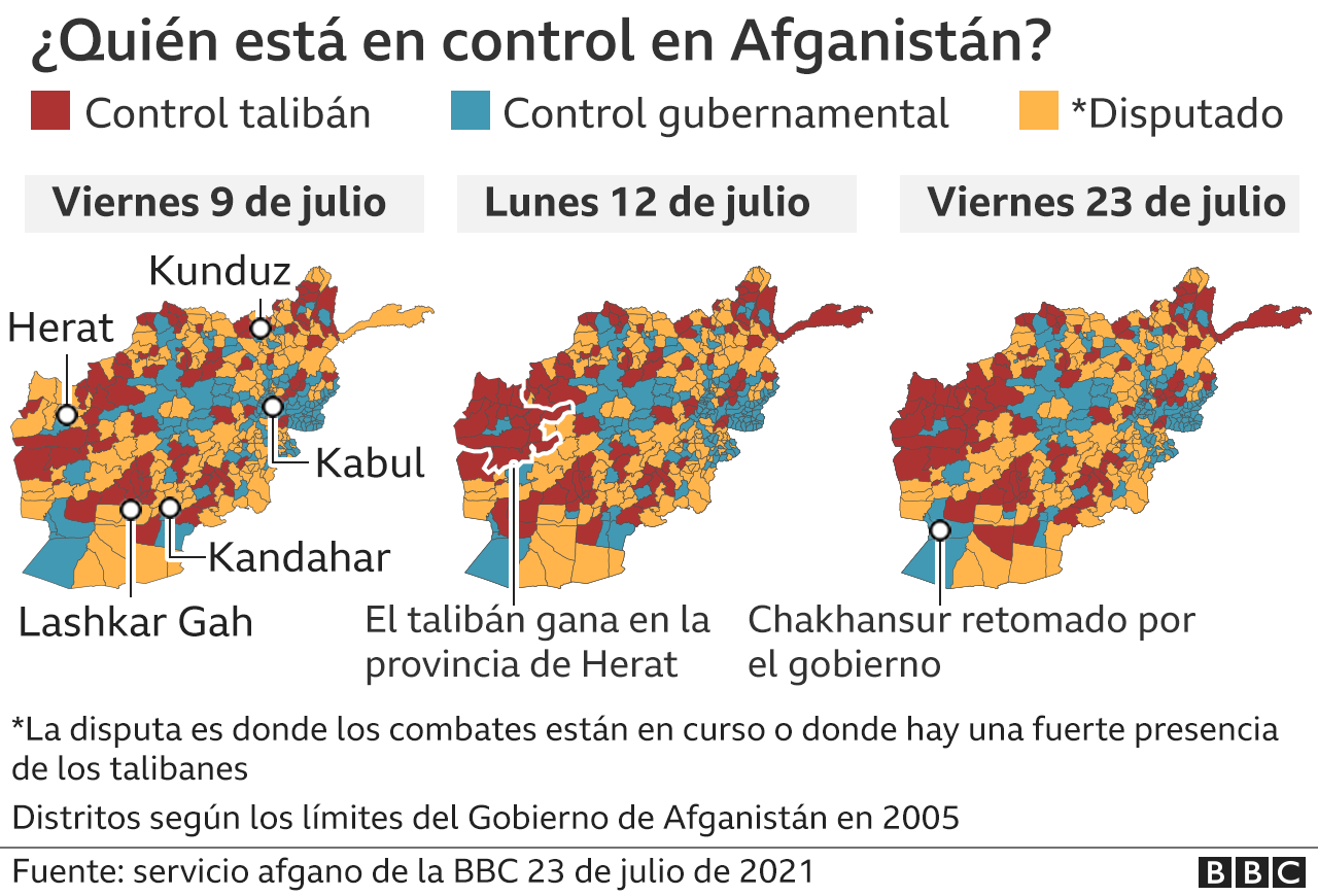 Mapa del control taliban