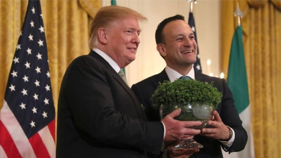 Leo Varadkar presented Donald Trump with the traditional bowl of shamrock