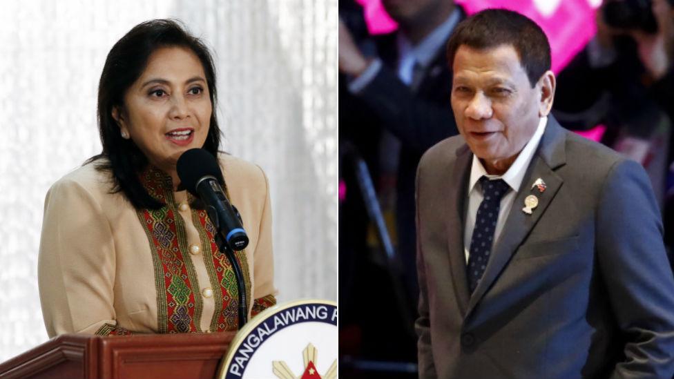 Philippine Vice-President Leni Robredo (left) and Philippine President Rodrigo Duterte