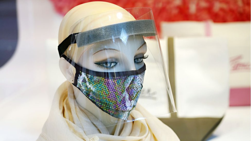 Mannequin with face mask and face shield