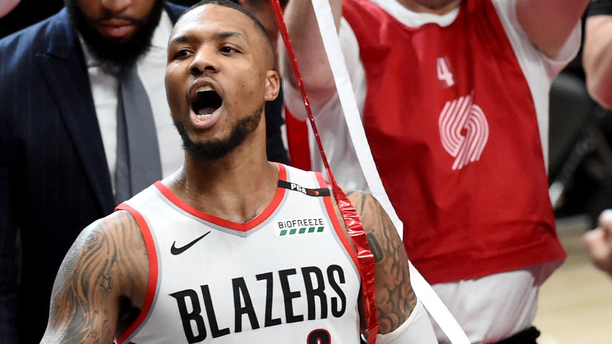Damian Lillard scores 50 points as Portland beat Oklahoma to advance in NBA play-offs