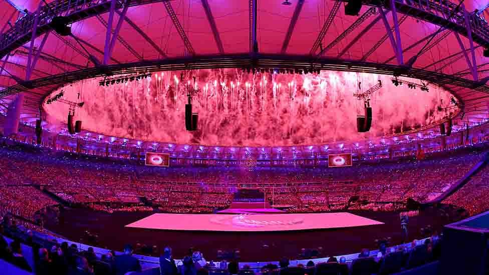 Fireworks are ignited during the Opening Ceremony of the Rio 2016 Paralympic Games