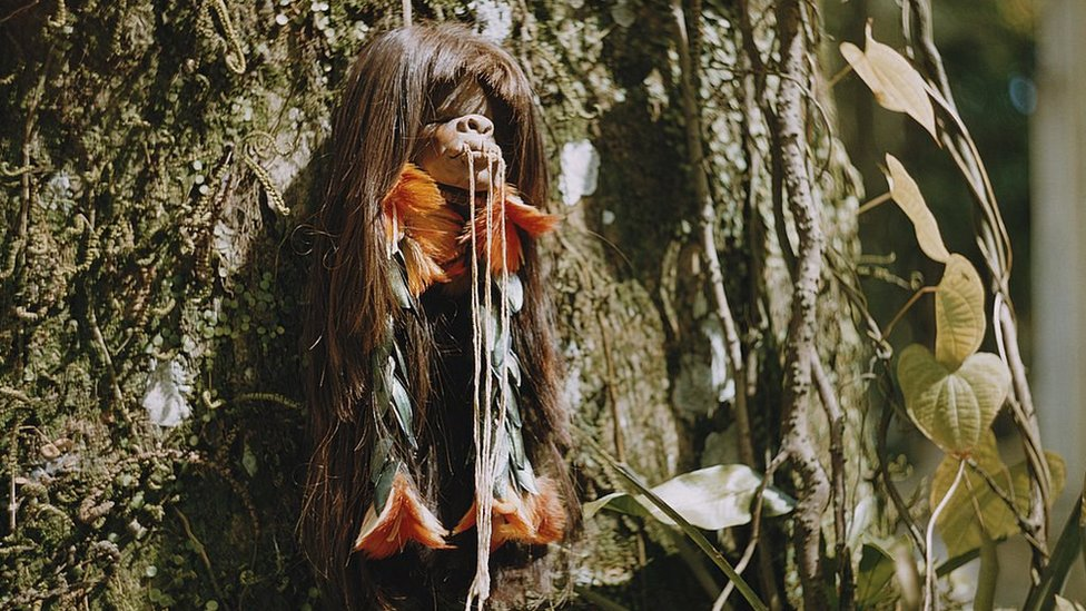 A shrunken head in the Upper Amazon basin of Brazil, circa 1960
