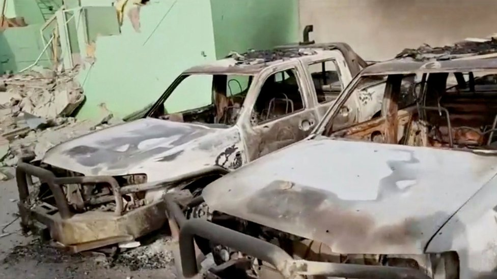Destroyed security vehicles in Ghazni City, Afghanistan are seen in this still image taken from a video by Ariana News on August 13, 2018.