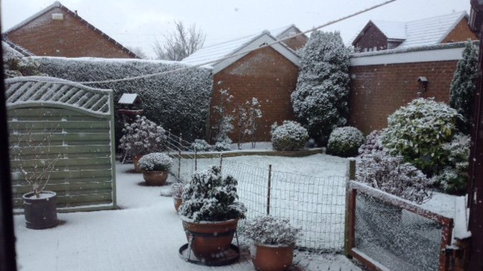 Snow in a back garden in Holton-le-Cley, Lincolnshire