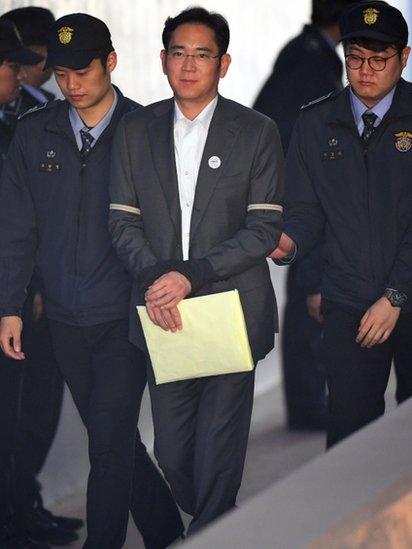 Lee Jae-yong esposado y escoltado por policías en 2017