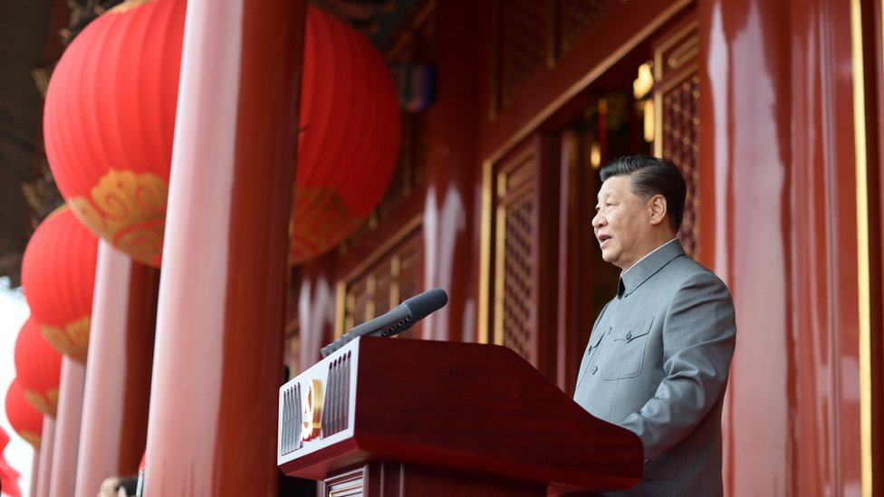 習近平在中共建黨100年慶祝活動上。