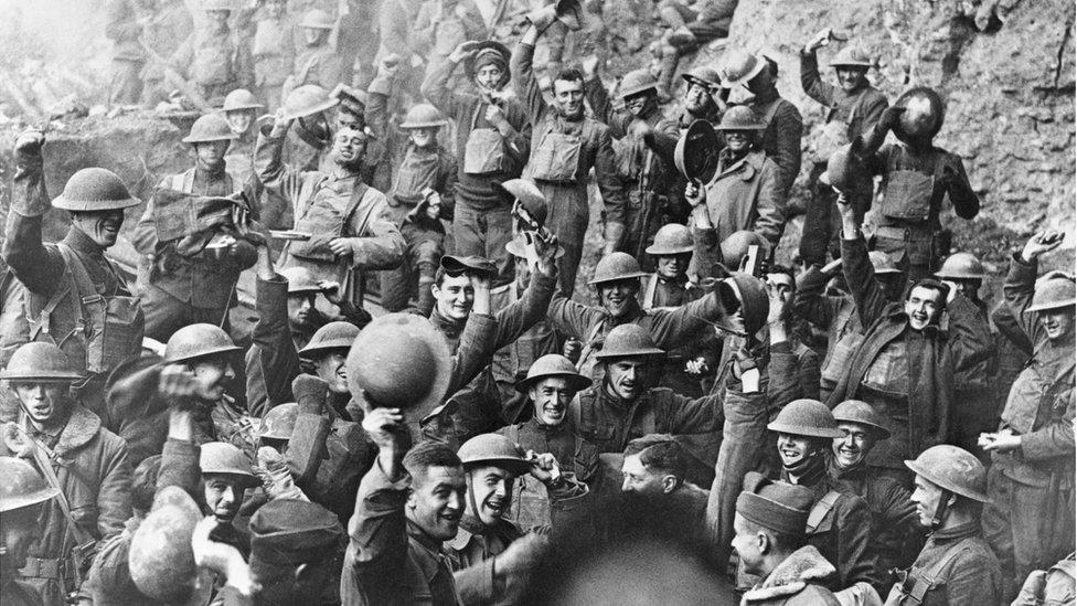 Troops celebrate the Armistice