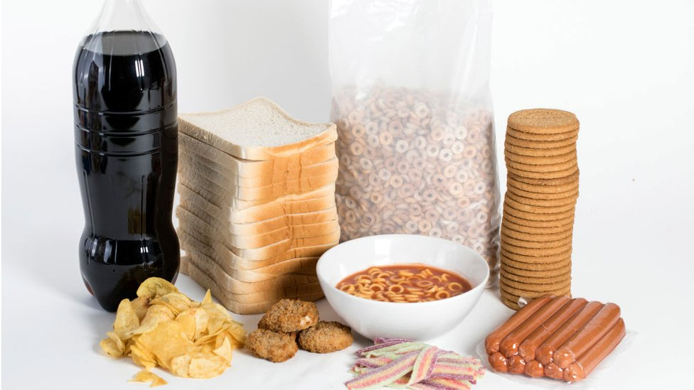 A photo illustration of 'Ultra Processed' foods on February