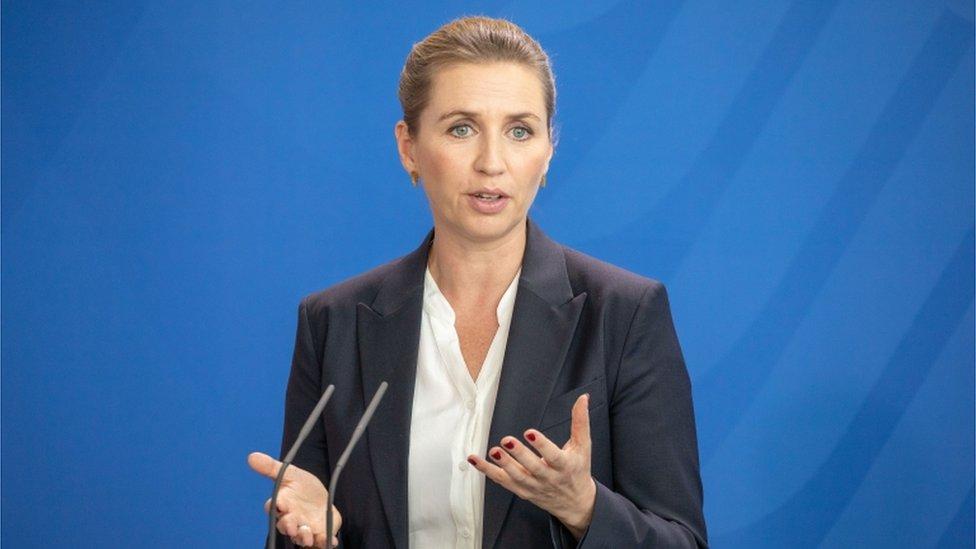Danish PM Mette Fredericksen gives a speech