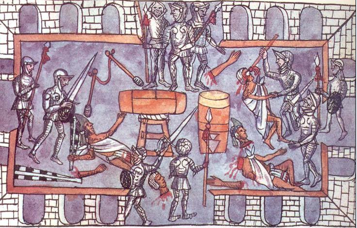 Una ilustración de la Matanza del Templo Mayor