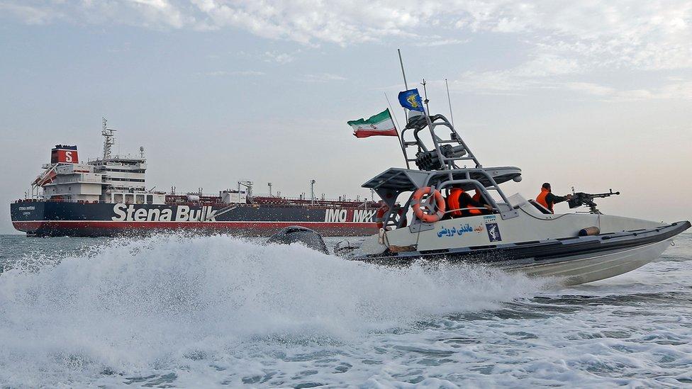 البحرية الإيرانية أثناء احتجاز الناقلة البريطانية